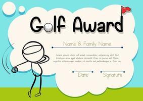 modelo de certificado de desenho animado de golfe vetor