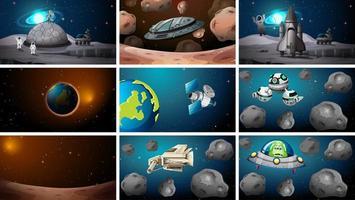 conjunto de várias cenas espaciais e alienígenas
