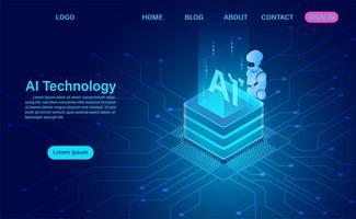 tecnologia de robô e servidor vetor