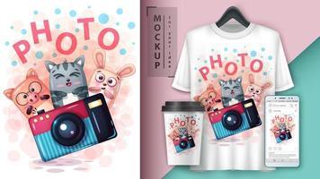 design de foto com animais dos desenhos animados