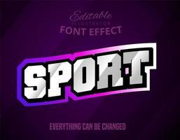 texto de esporte, efeito de fonte editável vetor
