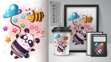 design de mensagem de abelha e panda oops