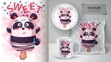 design de barra de sorvete de urso panda vetor