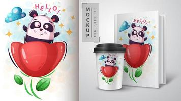 panda em flor Olá design
