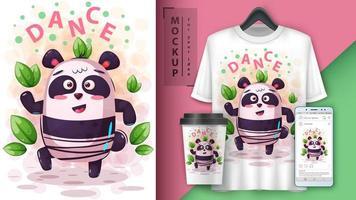 design de panda de música de dança vetor