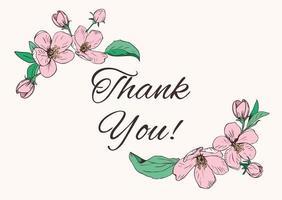 cantos florais e texto de agradecimento vetor