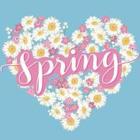 coração floral com letras caligráficas primavera vetor