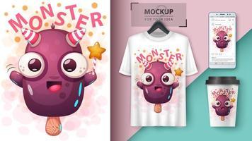 design de barra de sorvete de monstro do diabo dos desenhos animados