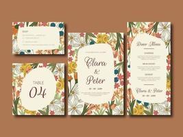 conjunto de cartão de casamento elegante flor
