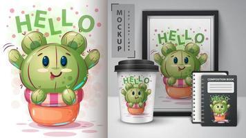 olá, urso, cacto, desenho