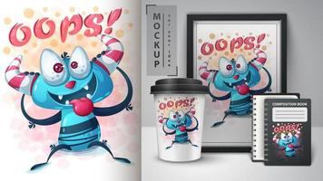 cartaz louco dos desenhos animados do monstro oops