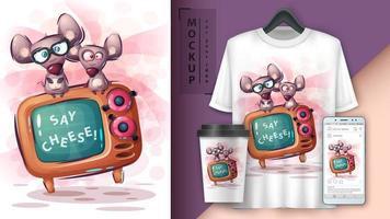 poster e merchandising para mouse e tv
