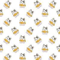 gatos dos desenhos animados, comendo padrão de peixe vetor