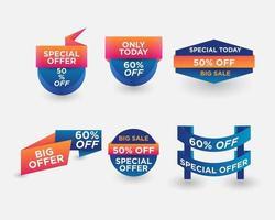 conjunto de banners de oferta especial vetor
