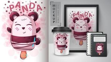 sorvete de panda dos desenhos animados vetor