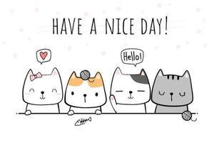 amigos de gato cumprimentando doodle dos desenhos animados vetor