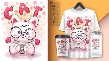 cartaz e merchandising de gatinho de pelúcia vetor