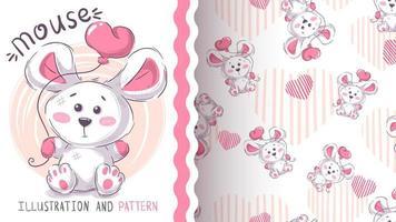 rato branco com balão de coração vetor