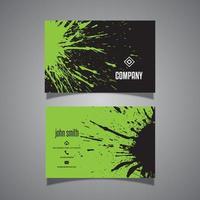cartão de visita verde e preto do splatter do grunge vetor