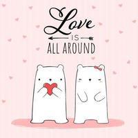 casal de urso polar branco no papel de parede rosa vetor