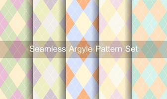 conjunto de padrão de argyle sem costura cores pastel vetor