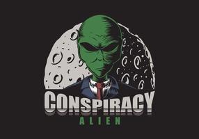 alienígena de conspiração na frente da ilustração da lua vetor