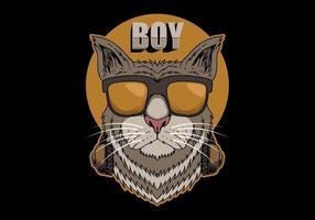 menino gato com fones de ouvido vetor