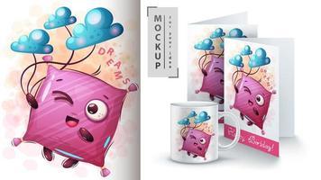 sonhos travesseiro design mock up vetor