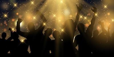 design de banner de festa com estrelas e holofotes vetor