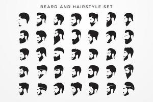 conjunto de barba e penteados masculino vetor