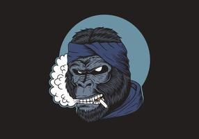 gorila fumando mostrando os dentes vetor