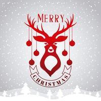 cartão de feliz Natal com veados e ornamentos vetor
