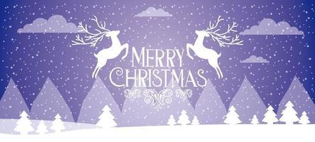banner de feliz Natal com dois veados brancos pulando vetor