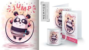 panda bonito esporte pulando corda vetor