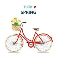 Olá cartão de primavera com bicicleta vetor