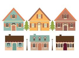 conjunto de casas e árvores. vetor