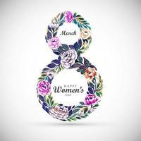 dia da mulher flor multicolorida em forma 8 vetor