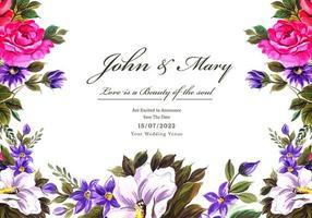 cartão de quadro de flores decorativas de casamento