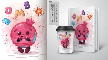 cartaz de bomba de romã dos desenhos animados