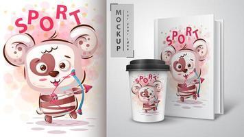 design de cartaz de esporte de urso panda vetor