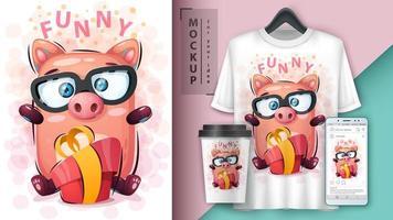 porco engraçado dos desenhos animados com design de presente vetor