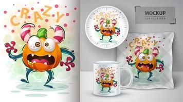 monstro bonito dos desenhos animados de abóbora louca