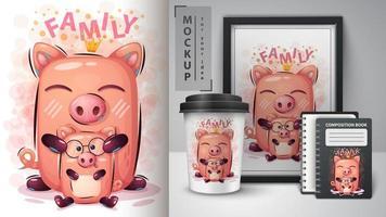 projeto bonito da família de porco dos desenhos animados vetor