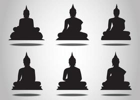 conjunto de silhuetas de Buda em um fundo branco vetor