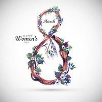 dia das mulheres flores no galho em forma 8 vetor