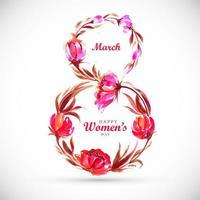 cartão de dia das mulheres com forma 8 floral vetor