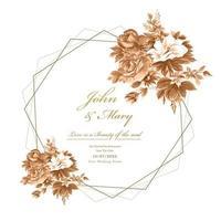 cartão de casamento com flores em aquarela e moldura geométrica