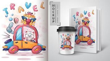 cartaz de animais dos desenhos animados de viagens de carro vetor