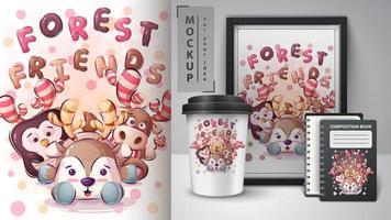 cartaz de amigos da floresta dos desenhos animados