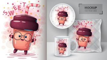 xícara de café doce dos desenhos animados com palha